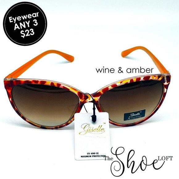 Oversized Amber & Wine Cat Eye Sunglasses